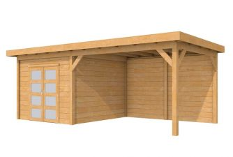Tuinhuis Roek Blank 302,5x302,5 cm + luifel 400 cm