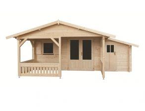 Blokhut 440x540 + luifel 200 cm + aanbouw 150 cm - geïmpregneerd