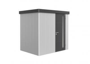 Biohort metalen berging Neo 1B 236x180 cm met enkele deur zilver/ donkergrijs metallic