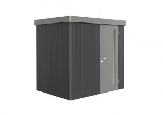 Biohort metalen berging Neo 1B 236x180 cm met enkele deur donkergrijs/ kwartsgrijs metallic