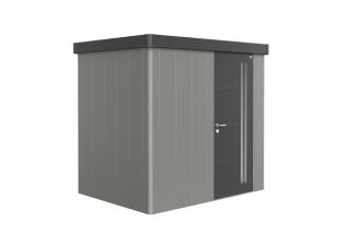 Biohort metalen berging Neo 1B 236x180 cm met enkele deur Kwartsgrijs/ donkergrijs metallic