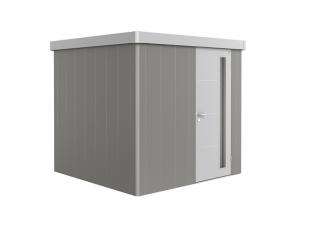 Biohort metalen berging Neo 2B met enkele deur kwartsgrijs/ zilver metallic