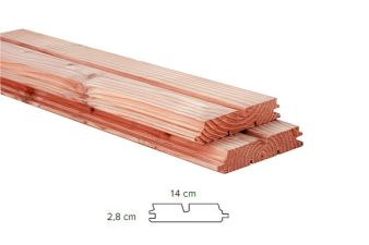 Woodvision Douglas dubbel rhombusprofiel 2,8x14 cm   300 cm - blank