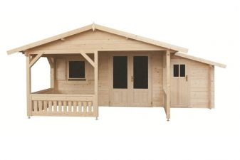 Blokhut 440x540 + luifel 200 cm + aanbouw 150 cm