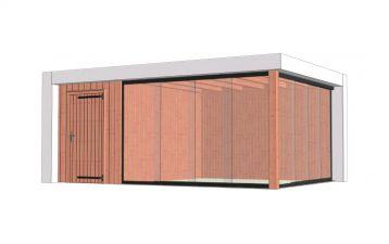 Buitenverblijf Verona 575x400 cm - Plat dak model links - combinatie 1