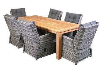 Tuinset Cofete teak tafel en wicker stoelen