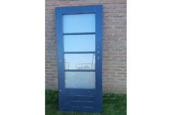 Vuren deur met dubbelglas 78x180 cm - Antraciet - SALE0346
