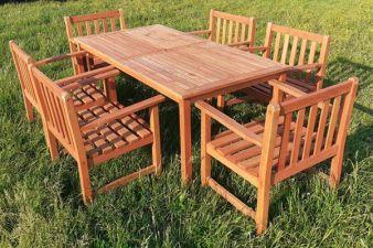 Teak tuinset tafel + 6 stoelen