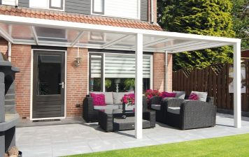 Terrasoverkapping Sunnyroof 600x250cm wit of antraciet